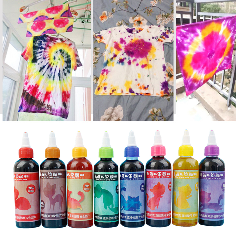 Craft Permanent DIY Fabric Clothing Textile Paints Tie Dye Kit Colorful Art Non Toxic Decorating Spiral Jacquard Accessories