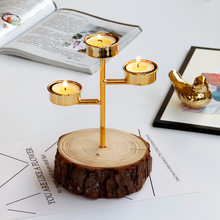 Gold Candle Holders with Natural Wooden Base Metal Iron Candlestick Dinner Table Ornament Romantic Wedding Party Decoration(China)