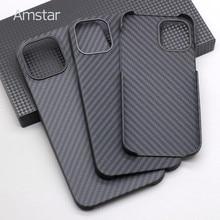 Amstar puro fibra de carbono estojo rígido para iphone 12 pro max ultra-fino anti-queda de fibra de carbono capa de telefone casos para iphone 12 mini