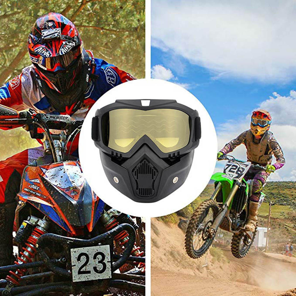 Motorcycle Detachable Dust Mask Goggles Motocross Glasses Goggles Mouth Filter Riding Sport Vintage Helmet Goggles  10H