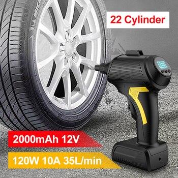 120W USB Rechargeable Wireless Car Air Compressor Handheld Tire Inflator Digital Inflatable Pump Pressure Gauge Car Accessories