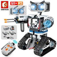 SEMBO-Robot de bloques de construcción a Control remoto para niños, técnico de juguete bloques de construcción, Robot inteligente de ciudad con Control remoto, arma, 2020