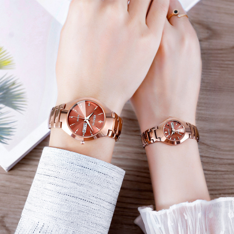High Quality Waterproof Lover's Watches Quartz Fashion Tungsten Steel Couple Watch Luminous Hands Day/Date Watches Gift