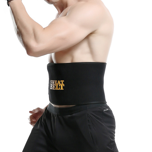 Belly Fat Burner Mens Waist Trimmer- Adjustable Slimming Body Shaper Ab Belt Trainer Mini Sauna Suit for Faster Weight Loss and Gym Workout- Four Sizes Black