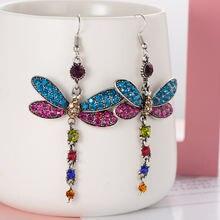 Женские серьги с кристаллами в виде стрекозы Роскошные капельки