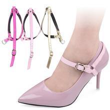 1Pair Lady Triangle Bundle Shoelace Anti-slip Faux Leather High Heels Shoe Strap