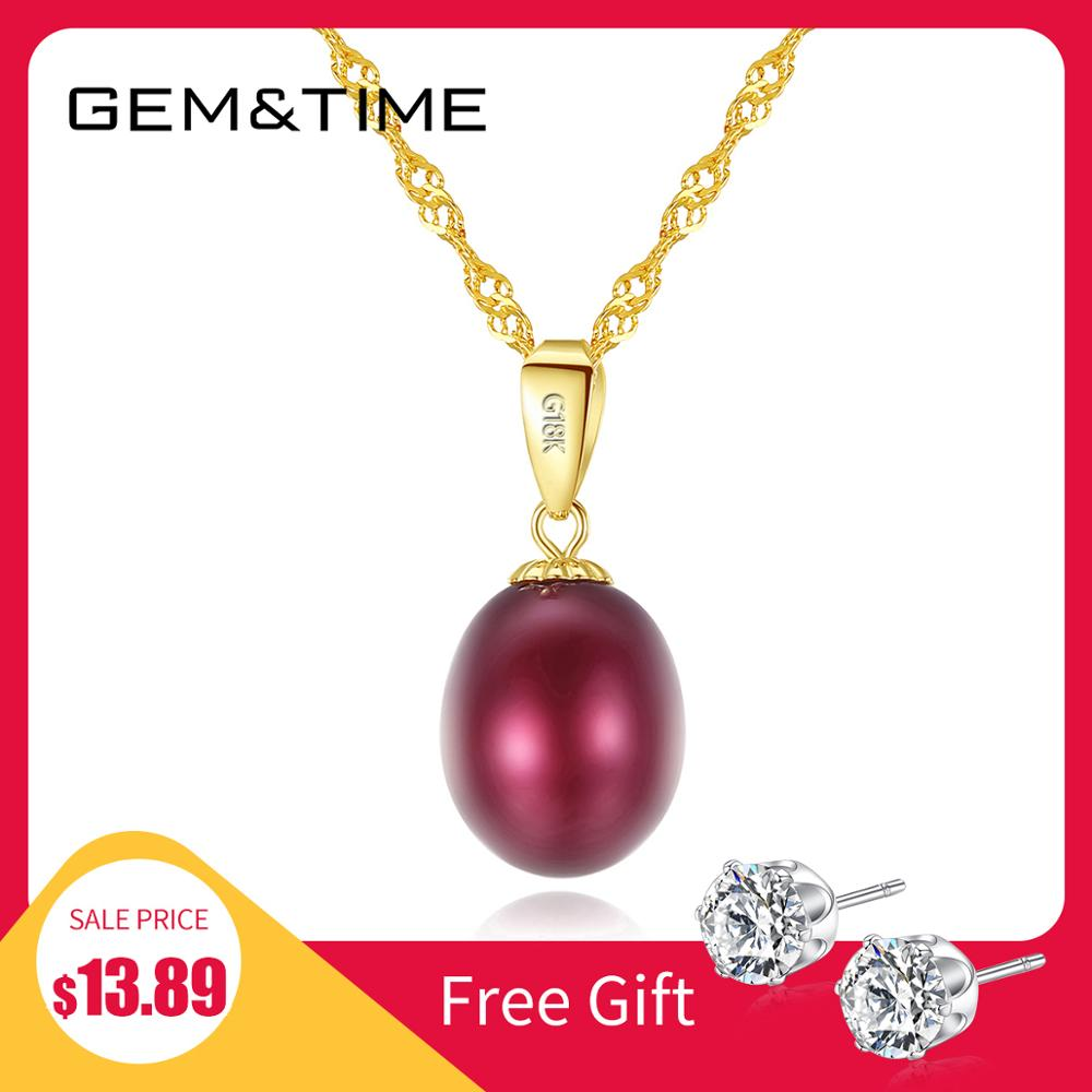 Gem&Time Genuine 18k Gold With Red Natural Freashwater Pearls Necklace For Women Yellow Gold Statement Engagement Fine Jewelry(China)