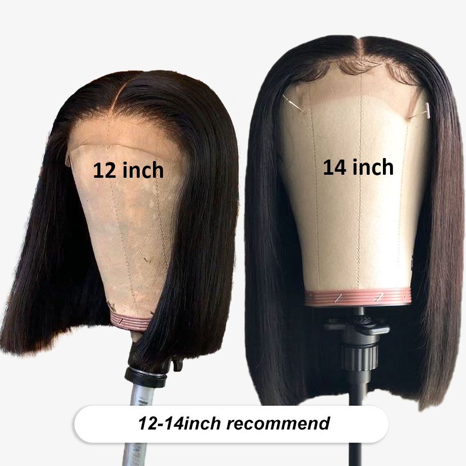 Short Lace Front Human Hair Wigs For Black Women Brazilian Remy Natural Straight Afro Bob Wig 4x4 Lace Closure Preplucked