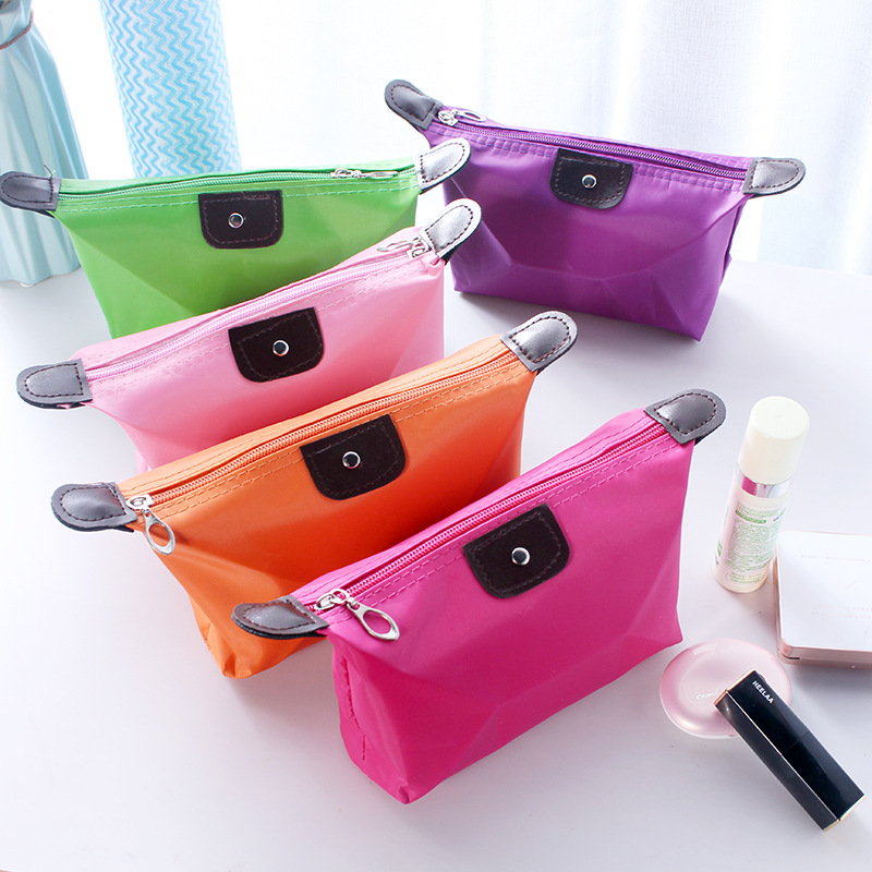Casual Trave Cosmetic Case Storage Girls Women Hand Bags Zipper Waterproof Pen Make Up Pack Dumplings Clutch Fold