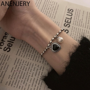 ANENJERY-pulsera de perlas de corazón de amor para mujer, de Plata de Ley 925, pulsera ajustable negra Vintage, joyería S-B509