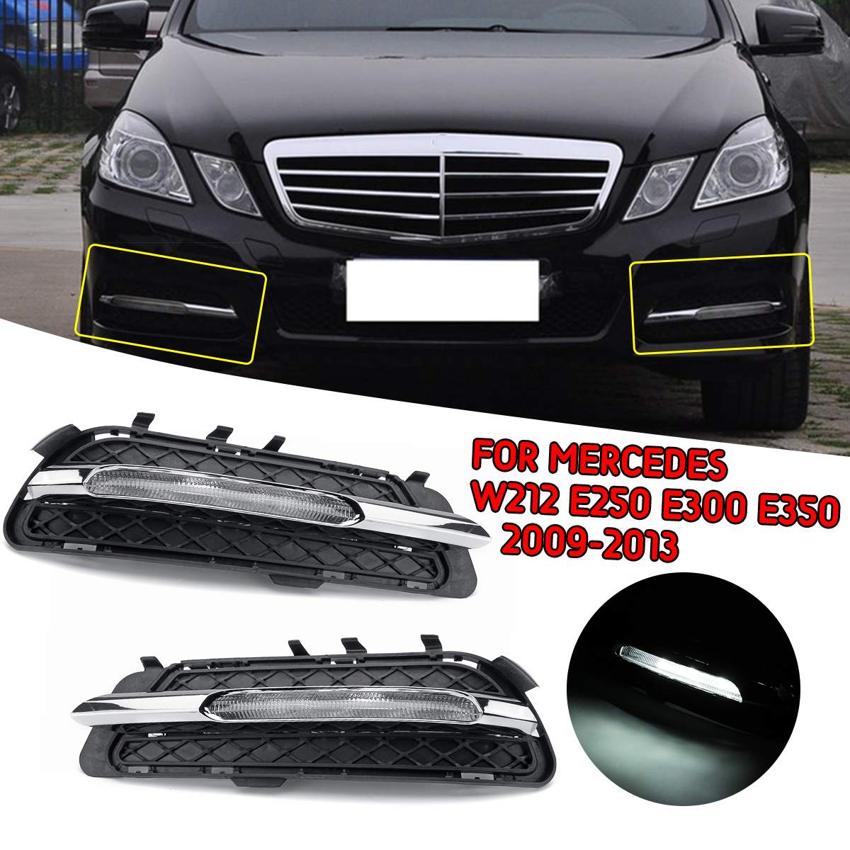 Bumper Trim For 2010-2013 Mercedes Benz E350 E550 Front Left Side