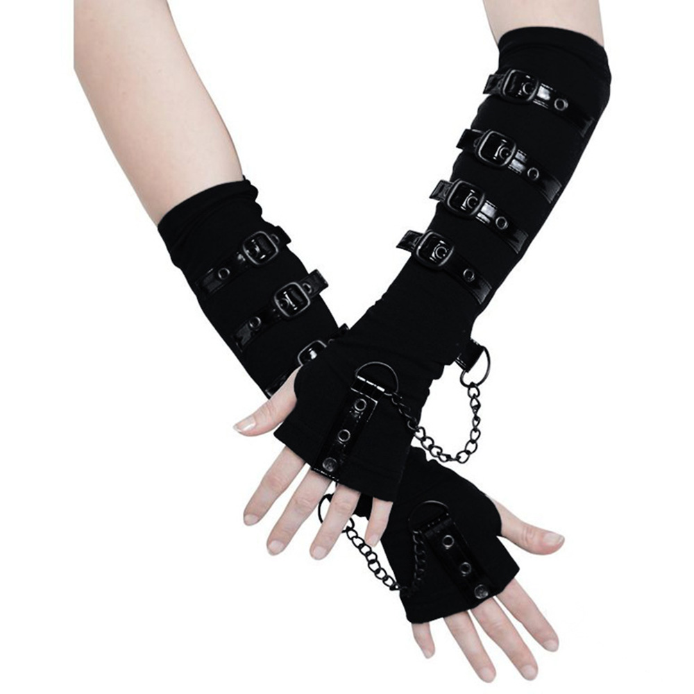 Gothic Gloves Personalized Wristband Japanese Word Buckle Adjustment Decorative Black Leaky Finger Long Wristband Arm Sleeve