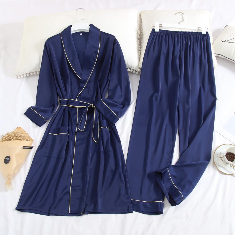 Spring And Autumn Men Long Sleeved Pajamas Ice Silk Thin Type Nightgown + Trousers, Simple Lapel Men Home Wear