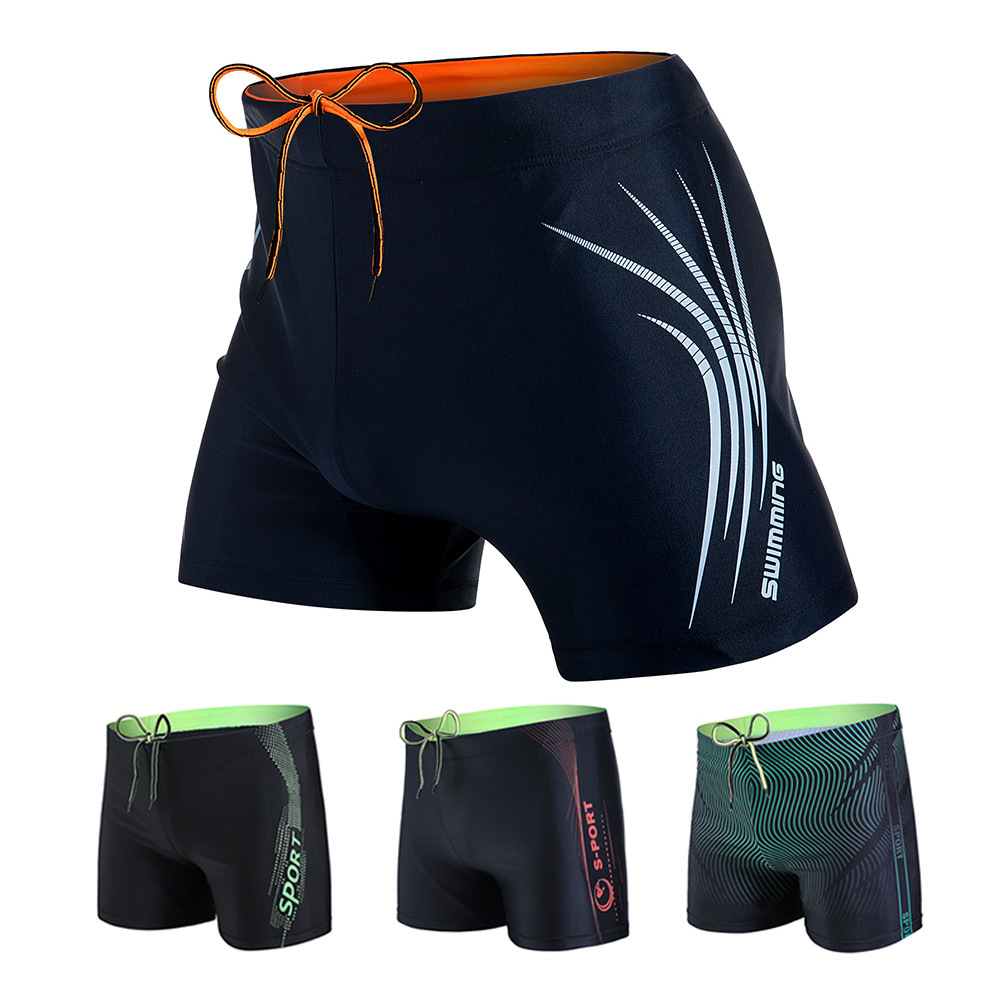 High-End Chinlon MEN'S Swimming Trunks Boxers Thick Comfortable Solid Color Large Size Fashion-Sports Quick-Dry Swimming Trunks