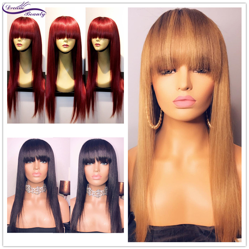 #99j Straight Wig With Bangs 13x4 Lace Front Wigs Blonde Bangs Wig 180% Density Bleached Knots Brazilian Remy Wigs Dream Beauty