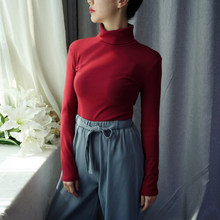 High-quality 7-color S-3XL elastic cotton shirt basic women's short-sleeved long-sleeved T-shirt in the spring of 2019(China)