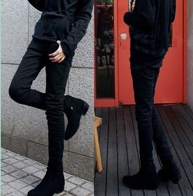 Jeans Men Slim Fit Medium Waist Small Feet Long Pants 2018 Spring Teenager Retro Black Trousers Gong Ku Trend