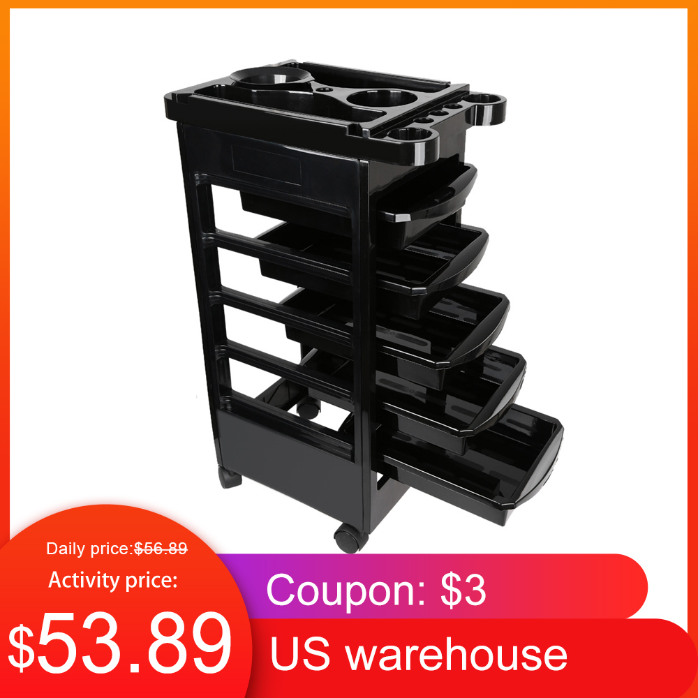 black Salon Hairdresser Trolley With Hair Color Dyes Bowls Beauty Tray Portable Utility Cart SPA Storage Hair Accessory Holder 4 Wheels