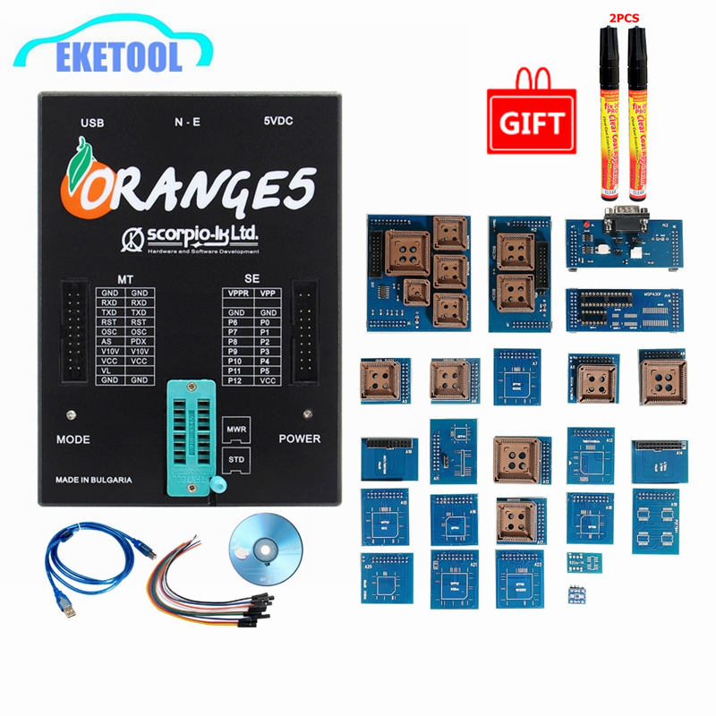 Orange 5 Full Adapters OEM Programming Device Hardware + Enhanced Function Software V1.34 Orange5 Get 2 Free Fix Pen-in Car Diagnostic Cables & Connectors from Automobiles & Motorcycles
