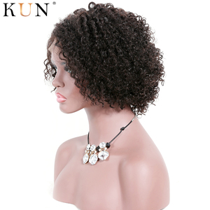 Image 3 - Short Human Hair Wigs kinky Curly 360 Lace Frontal Human Hair Wigs 4.5 & 6 Inch Parting PrePlucked Remy 150 180 Density Lace Wig