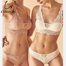CINOON, модный сексуальный комплект с бюстгальтером, женское пуш-ап кружевное белье трусики, тонкие дышащие бюстгальтеры в комплекте, жаккардовое сексуальное нижнее белье