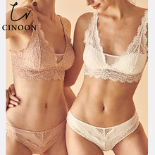 CINOON Fashion Sexy Bra set Women's push up Lace Underwear Panties Thin breathable bra set Jacquard Sexy Underwear Free Shipping(China)