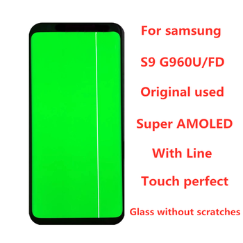 Original 5.8 AMOLED  For Samsung Galaxy S9  G960A G960U G960F LCD Display Touch Screen Digitizer Assembly With Line original amoled screen for samsung galaxy note 3 lte n9005 lcd display touch panel digitizer with bezel frame assembly