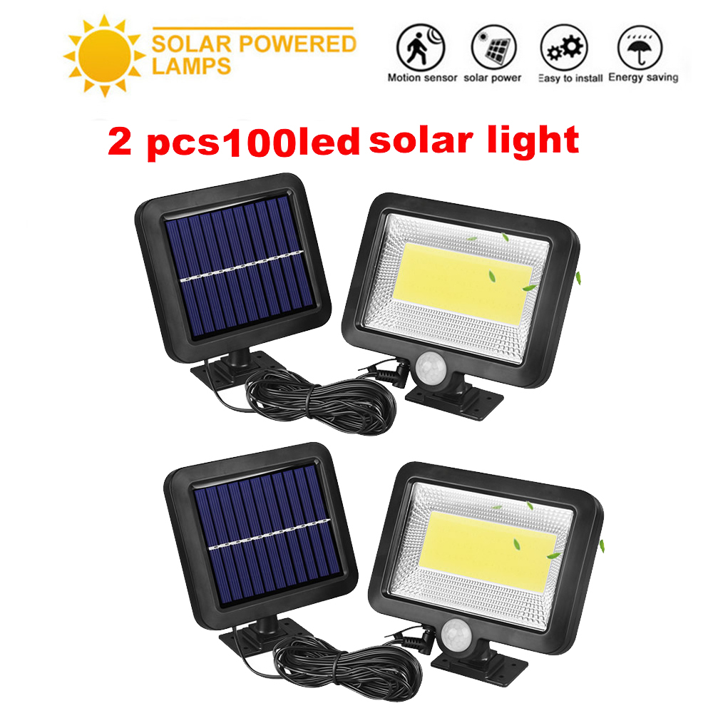 2/4pcs PIR Motion Sensor 100/56/30 LED Solar Light Outdoor Solar Powered LED Garden Light Waterproof Emergency Wall Lamp With Ca