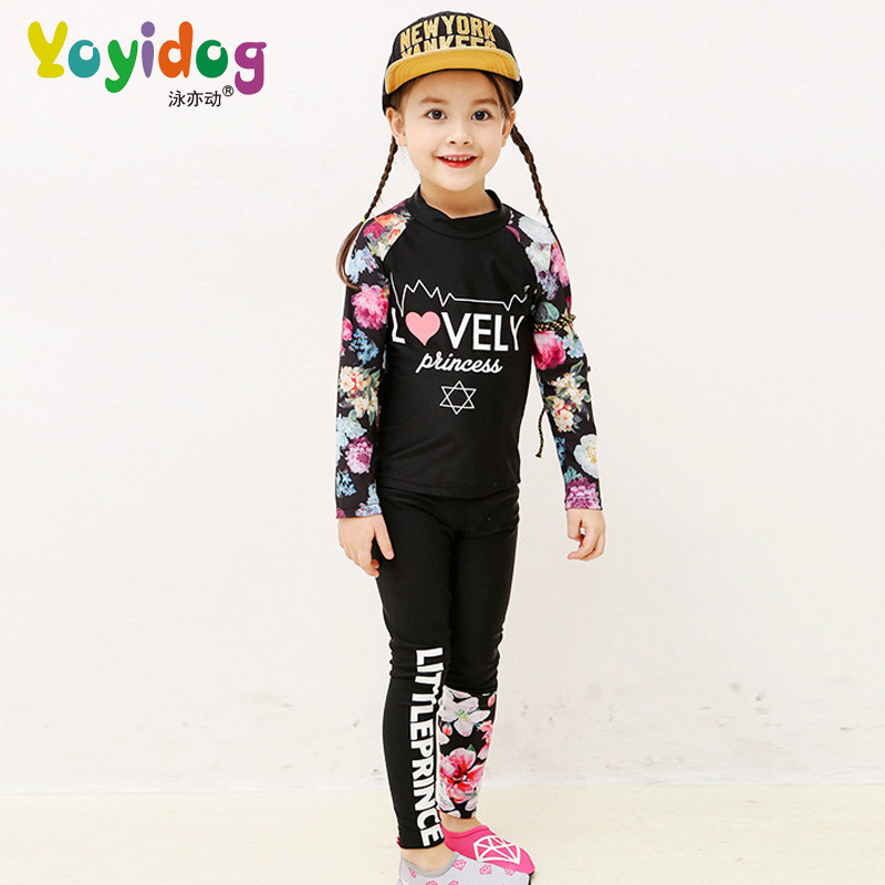 KID'S Swimwear One-piece GIRL'S BOY'S Long Sleeve Sun-resistant Trousers Tour Bathing Suit Big Boy Baby Diving Suit
