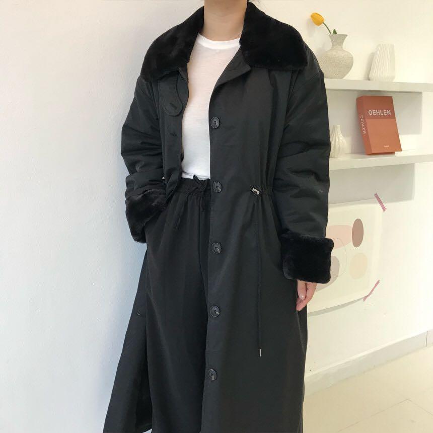 Женское однобортное пальто genayoa длинное теплое зимнее в Корейском
