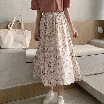 Floral Print Ruffle Pleated Long Skirts summer Women Korean Skirt Streetwear Drawstring Elastic Waist Midi Skirt drawstring waist color block letter skirt