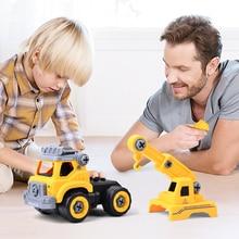 1set Assembled Dump Inertial Car Truck Excavator Mixer Roller Model Car Toys Puzzle Building Block Education Toys For Boys Kids