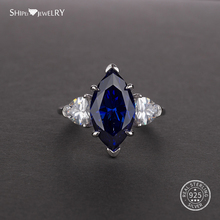 Shipei Marquise Cut Engagement Rings for Women Sapphire Ring in Sterling Silver Coctail 925 Jewelry
