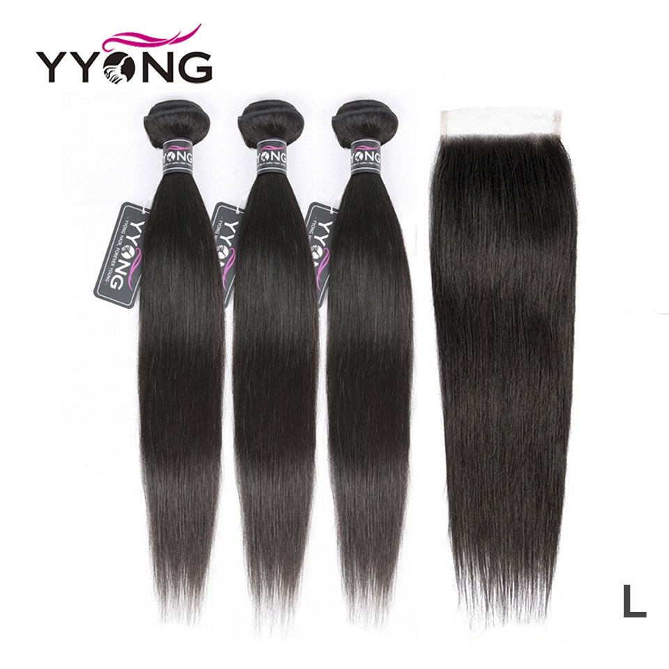 Yyong Straight Hair Bundles With Closure Brazilian Hair Weave 3 Bundles Remy Human Hair Bundles With Closure Hair Extension