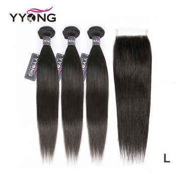 Yyong Straight Hair Bundles With Closure Brazilian Hair Weave 3 Bundles Remy Human Hair Bundles With Closure Hair Extension - Category 🛒 All Category