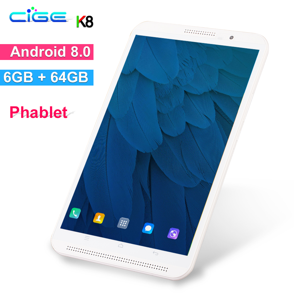 CiGe K8 8 Inch 3G 4G LtePhone Call Tablets Android 8.0 Tablet Pc 6GB RAM 64GB ROM Octa Core WiFi Bluetooth FM