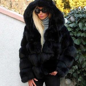 Image 3 - 패션 럭셔리 블랙 두꺼운 리얼 폭스 모피 코트 여성을위한 후드와 함께 전체 펠트 짧은 정품 폭스 모피 자켓 여자 겨울 오버 코트
