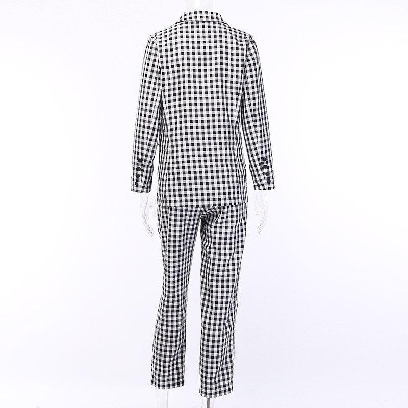 Preto branco xadrez feminino blazer terno conjunto de manga longa escritório senhoras elegante calça ternos feminino casual streetwear calças terno - 5