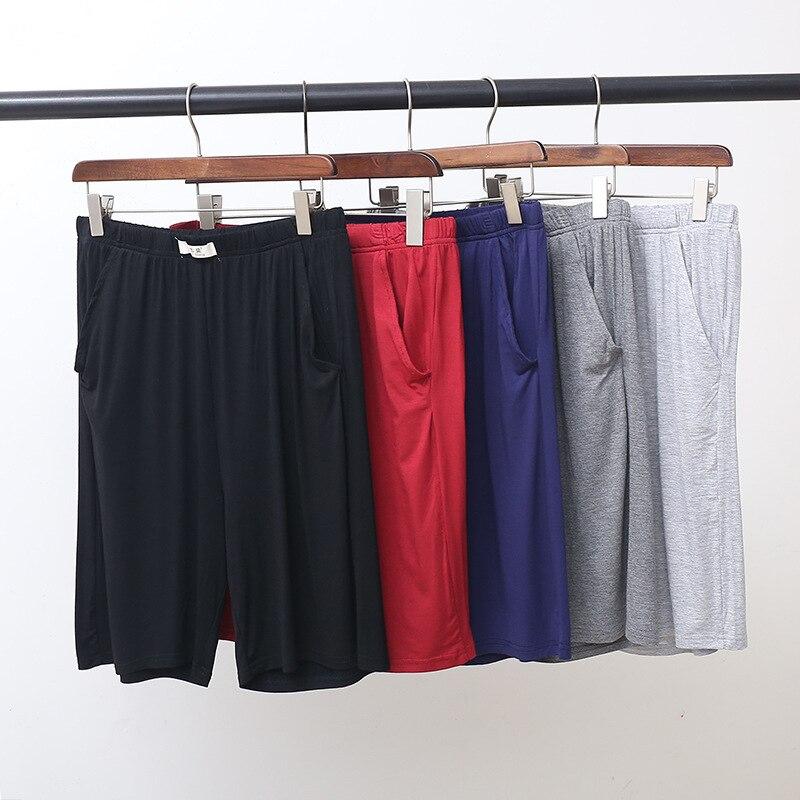 Fdfklak Summer Short Sleep Bottoms Men Soft Modal Home Shorts For Men Black/Gray Pajamas Pants Fashion Plus Size L-4XL
