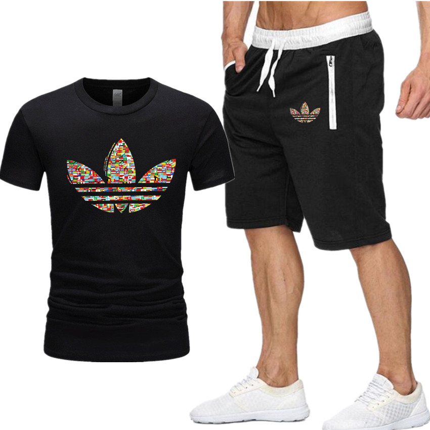 2019 New T Shirt+Shorts Sets Men Jordan Printed Summer Suits Casual Tshirt Men Tracksuits Brand Clothing Tops Tees Set Male