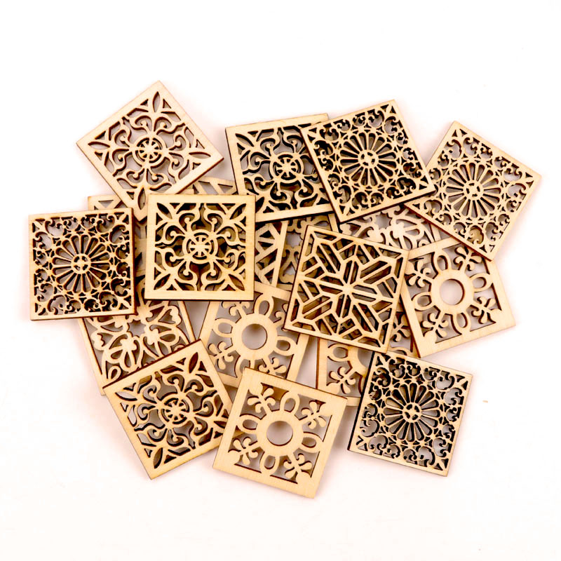 10pcs Chinese Style Retro Frame Wooden Pattern Round Square Scrapbooking Craft Handmade Accessory Home Decoration DIY 40mm