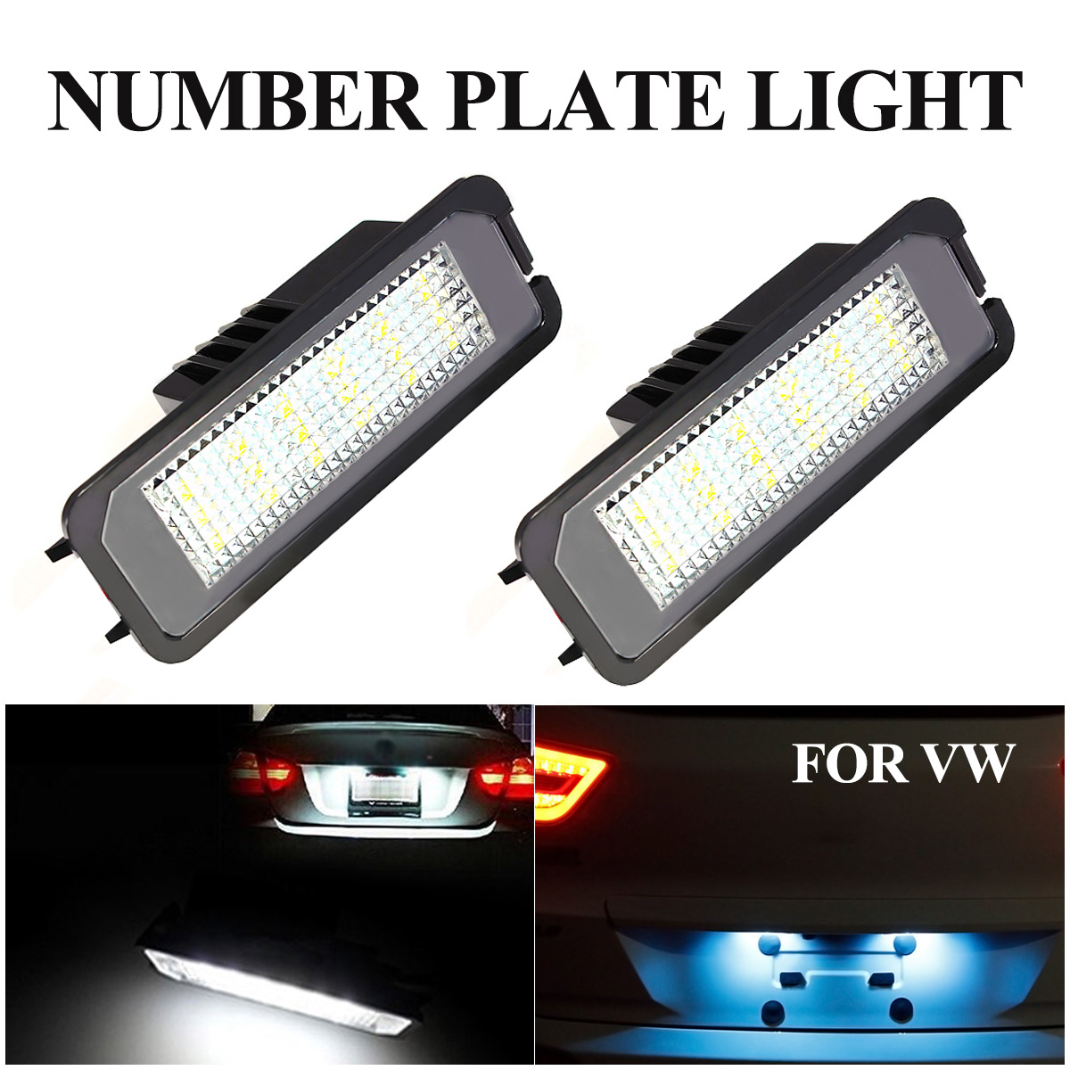 2pcs Car 12V <font><b>LED</b></font> Number Licence Plate <font><b>Light</b></font> Lamps for <font><b>VW</b></font> <font><b>GOLF</b></font> CTI <font><b>MK5</b></font> MK6 PASSAT 3D0943021A 3C5943021 1K8943021 7L6943021 image