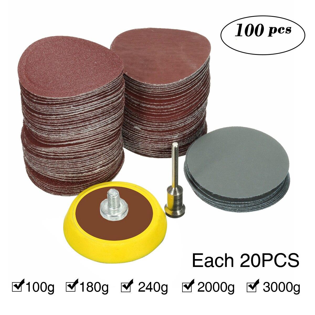 100pcs 25mm/1inch Sandpaper  + 1pcs Loop Sanding Pad Abrasives Mixed Polishing + 1pcs 1inch Hook Loop Backer Plate 1/8inch Shank