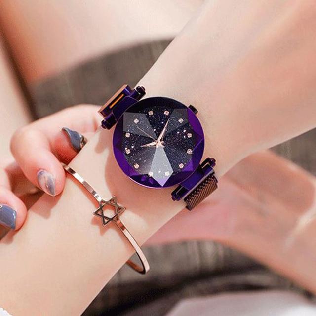 2020 New Ladies Magnetic Starry Sky Clock Luxury Fashion Women Watches Diamond Female Round Analog Casual Quartz Wristwatches 3