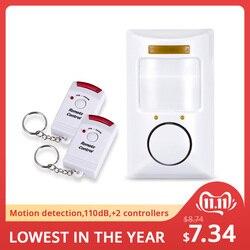 Золотой безопасности портативный 110dB PIR детектор движения Инфракрасный Противоугонный детектор движения домашняя система охранной сигнал...