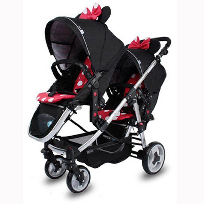 Twin Stroller Can Sit Reclin High Landscape Double Portable Children's Stroller Rubber Wheel Two-way Seat Baby car for Newborn image