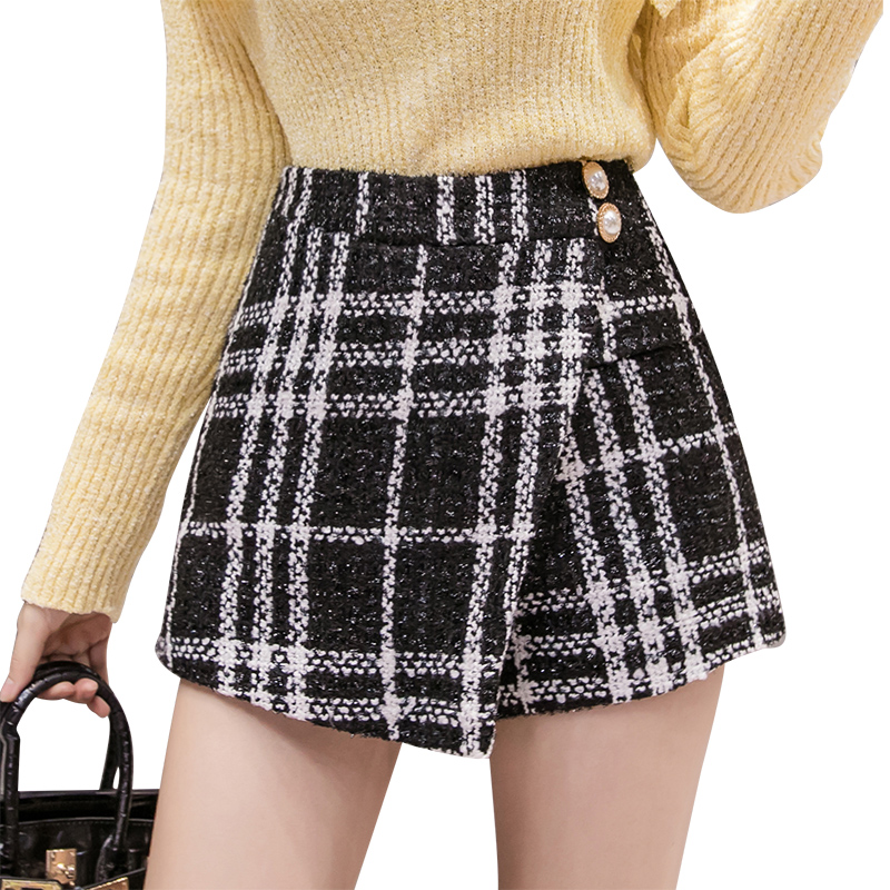Shine Tweed Shorts Women High Waist Irregular Wide Leg Skirt Shorts Autumn Winter Korean Thicken Woolen Short Mujer Plaid Shorts