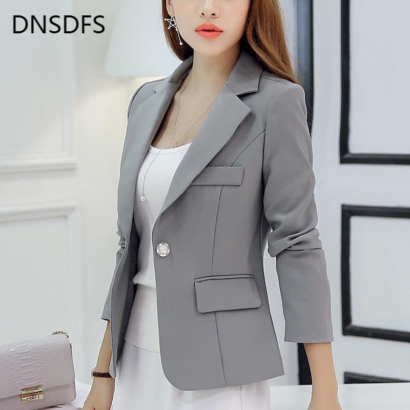 Brand Spring Autumn Slim Fit Women Formal Jackets Work Office Ladies Lapel Solid Coat Grey Black Fashion Chaqueta Female Tops