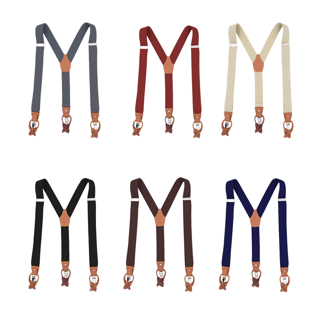 Vintage Men's Y Back Suspenders With Strong Clips Leather Joint Elastic Stretch Belt Clothing Accessories