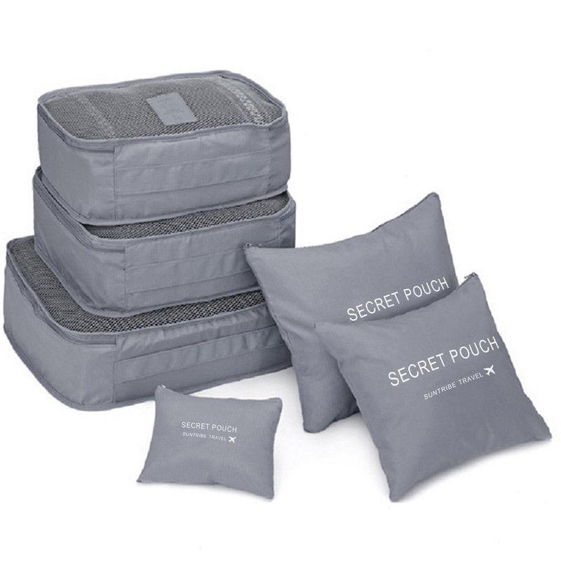 Местный запас 6 шт. водонепроницаемые дорожные сумки одежда чемодан Органайзер сумка Упаковка распродажа - Цвет: Серый